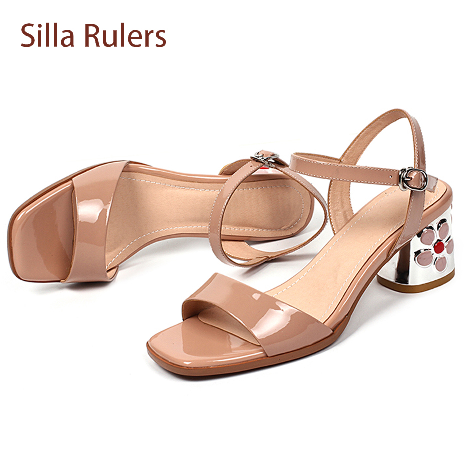 3f8f4b5b117a5 heel summer square sandals patent Silla women buckle lady fashion strap mid 2018  shoes flower leather ...