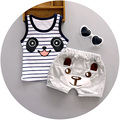 2016 Summer baby boys vest sets for 1 2 3 years old nice cotton fashion style children toolders infant clothing set A108