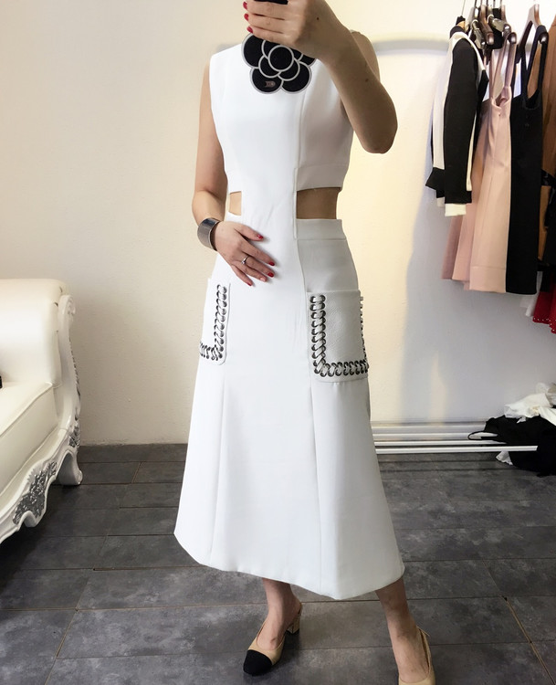 New 2018 spring summer fashion women girls cut out waist sexy dress novelty sleeveless patchwork PU pockets dresses white blue