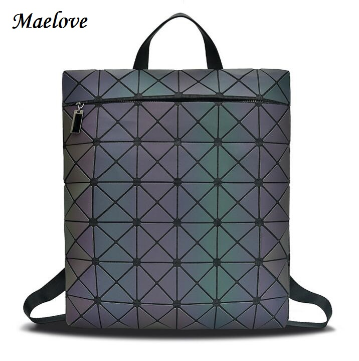 Maelove Luminous bag backpack Women Geomtric Backpack matte color Large Capacity Shoulder bag student's School Bag Free Shipping free shipping new fashion brand women s backpack ladies school bag female shoulder bag large capacity 100% in kind shooting