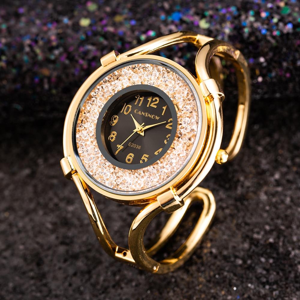 Women's Bracelet Watches Fashion Girls Dress Diamond Saats L