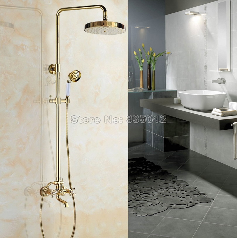 Wall Mounted Dual Cross Handles Bathtub Mixer Tap Gold Color Brass Bathroom Rain Shower Faucet Set W/Handheld Shower Head Wgf355