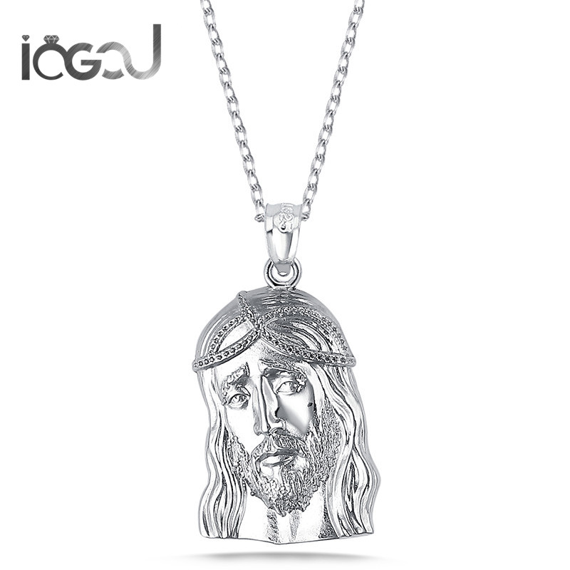 Iogou trendy 925 sterling silver jesus pendant for necklace christ iogou trendy 925 sterling silver jesus pendant for necklace christ charm men engagement party hip hop male jewelry gift xmas in pendants from jewelry aloadofball Image collections