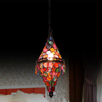 Mediterranean style tiffany glass light fixtures color stained glass cone bedroom lamps 1 light single pendant light fittings