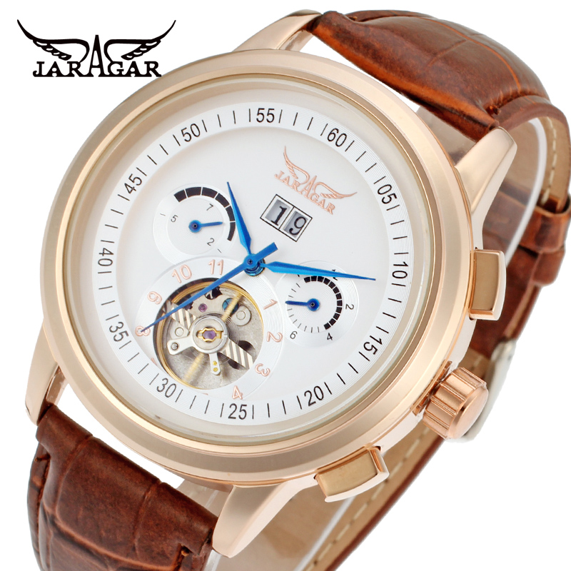 Jargar Automatic rose gold color men wristwatch tourbillon brown leather strap free shipping JAG16557M3R2 mens watches top brand luxury holuns 2017 men watch sport tourbillon automatic mechanical stainless steel wristwatch relogio mas