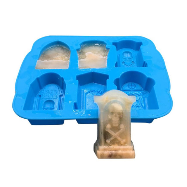 3D Skull Tombstone Shaped Ice Cube Mold
