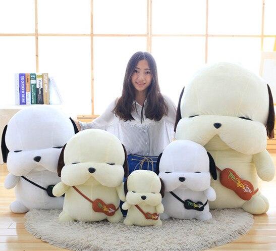 Hanhanho 15-40cm Dog Plush Kids White Brown Toys Soft Stuffed Animal Sleeping Dolls Birthday Gifts Dog with Bag