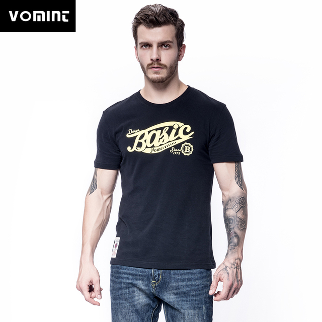 Vomint 2018 Summer New Mens Combed Cotton T-shirts Short Sleeve Solid Color Graphic Stereoscopic Printing T-shirt for Male BP004