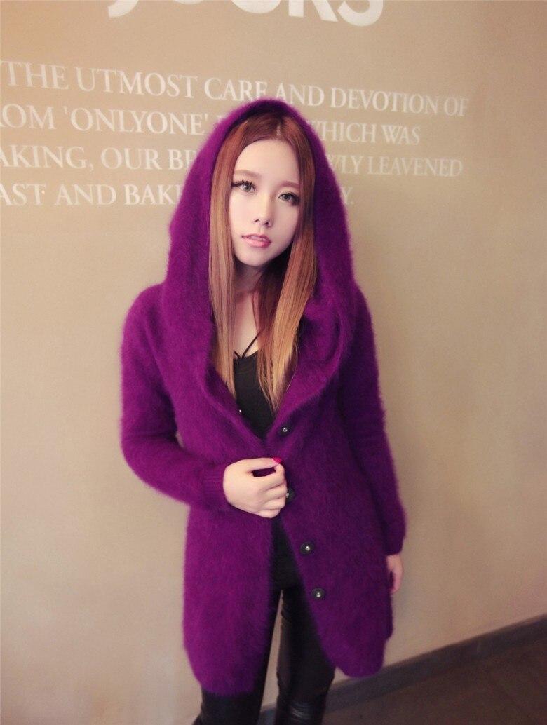 Новинка, длинное пальто из натурального меха норки DFP385, куртка из натурального меха - Цвет: Purple