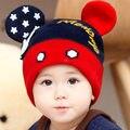 Nova orelha do bebê chapéu gorro de lã inverno chapéu feito malha criança outono e inverno chapéu quente para meninos e meninas