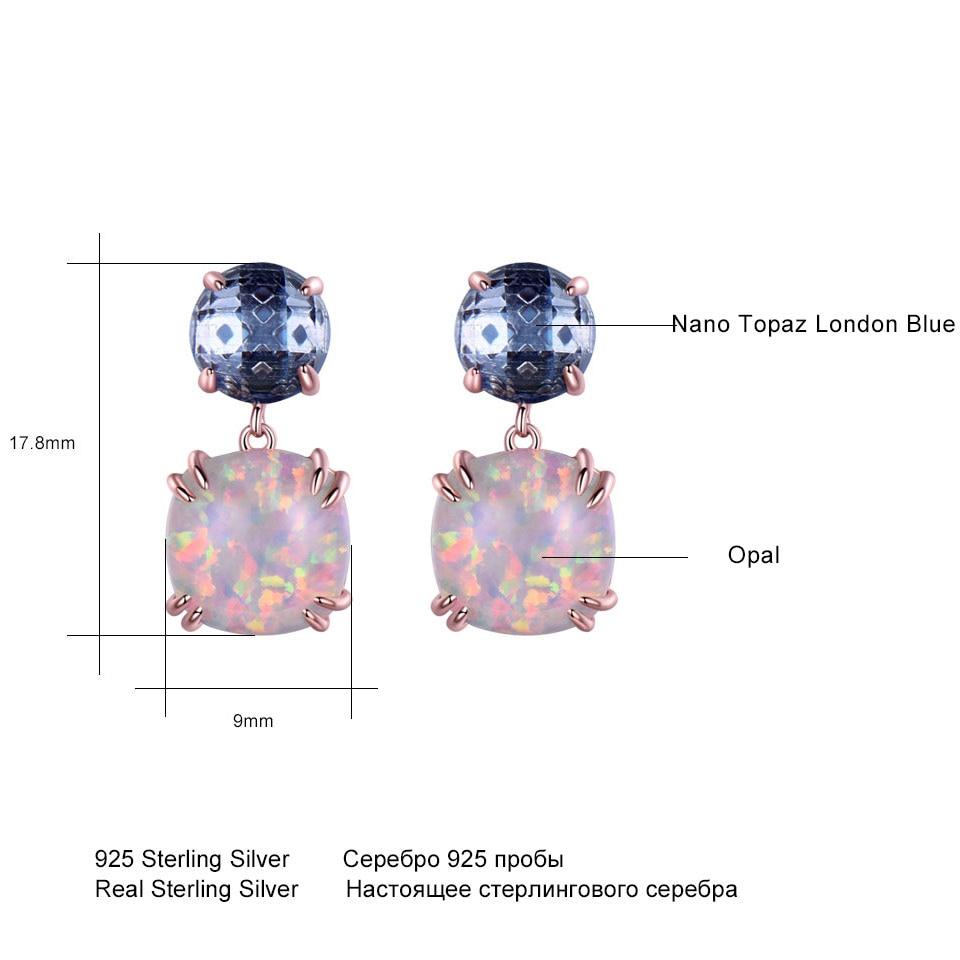 UMCHO 925 ստերլինգ արծաթագույն օպալ Stud - Նուրբ զարդեր - Լուսանկար 5