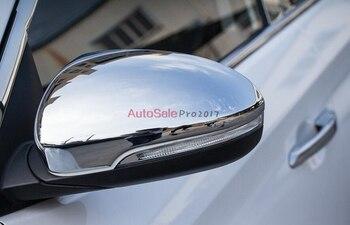 Color de fibra de carbono y plata para 2015 2016 HYUNDAI tufson TL cubierta cromada de espejo retrovisor lateral moldura tapa de moldeo adornado 2 unids/set