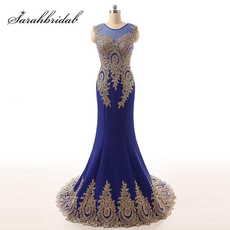 Elegant Gold Lace Mermaid   Prom     Dresses   2018 Sexy Sheer Neck Kaftan Evening Gowns Sleeveless In Stock   Dress   vestido longo de fest