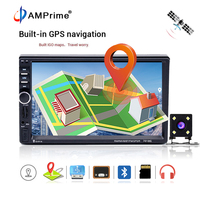 AMPrime 2 din Car Multimedia Player GPS Navigation Audio Stereo Radio 7Touch Screen Autoradio Video MP5 Player Camera Map7018G
