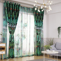 Tropical Rainforest Blackout Curtain Fabric Aristocratic Decoration Bedroom Living Room Curtain Decoration Valance Home Textiles