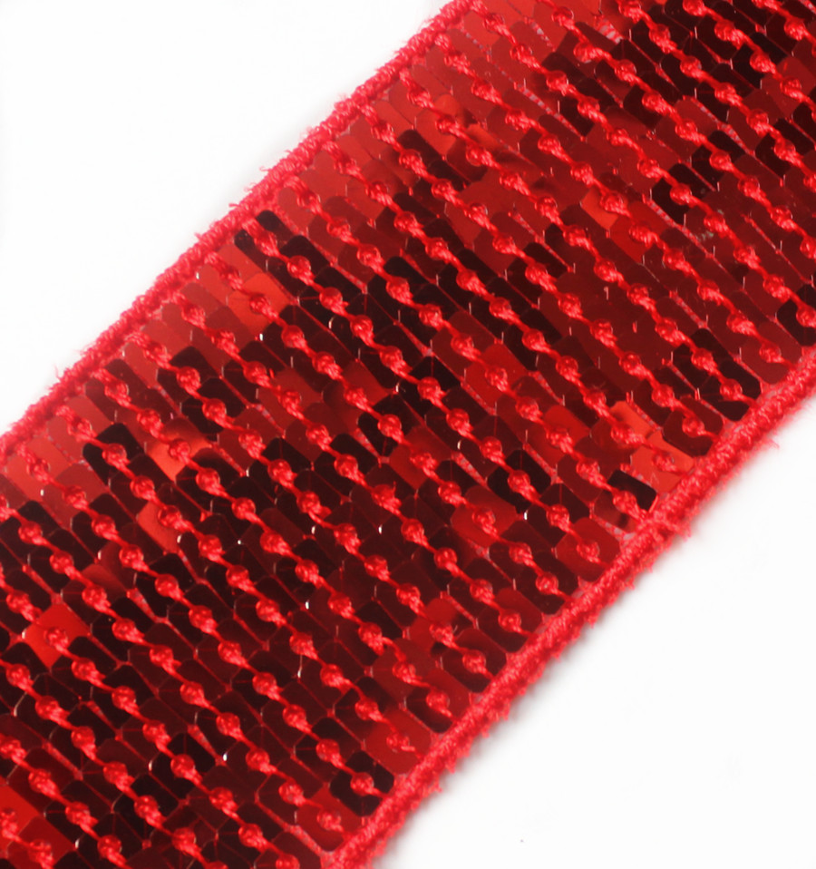 Entertainment Memorabilia Wholesale 30yards 11 Lines Glitter Red Craft Hand Trim Ribbon Sequin Trim Beaded Lace Trim Sewing Trim T90