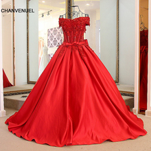 LS54732 Luxury red dress evening with crystals satin sweetheart off the shoulder short sleeves corset back long dress long party