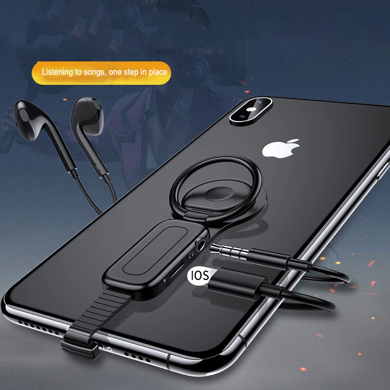 2 in 1 Lighting to 3.5mm Audio Adapter Ring Holder Charger Adapter Fast Charging Adapter Connector OTG For iPhone XS X 8 7 Plus