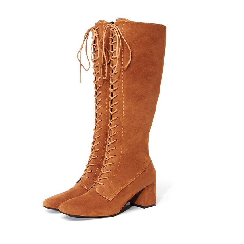 2018 autumn suede high heel Europe and America large size thick with front lace round head wild womens boots brwon 10222018 autumn suede high heel Europe and America large size thick with front lace round head wild womens boots brwon 1022