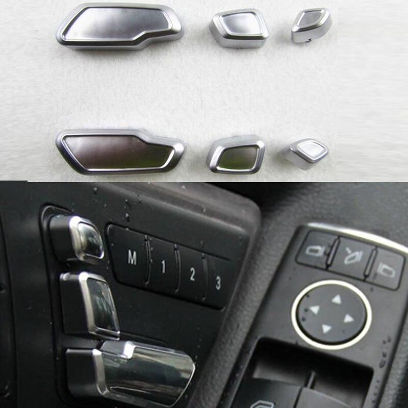 For Mercedes Benz E/GLK/ML/GL/GLS Car Interior Decoration Auto Seat adjustment button switch trim 6PCS/SET Wh car seat cover covers accessories for mercedes benz gle w167 glk x204 gls x166 ml w163 w164 w166 w221 w222