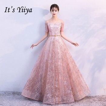 224f49ee04 Es Yiiya barco de lujo cuello hombro Bling lentejuelas de encaje vestidos  de noche vestido de piso longitud vestido de fiesta MX011