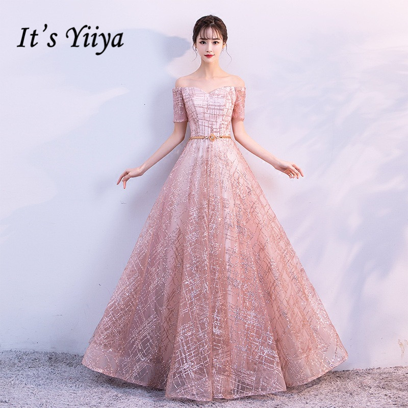 It's Yiiya Luxury Boat Neck Off The Shoulder Bling Sequined Lace Up Evening Dresses Backless Floor Length Party Gown MX011