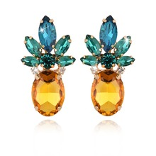 Charming Women Gold Rhinestone Crystal Chic Pineapple Ear Stud Fashion Summer Colorful Earrings Shellhard Jewelry Gifts