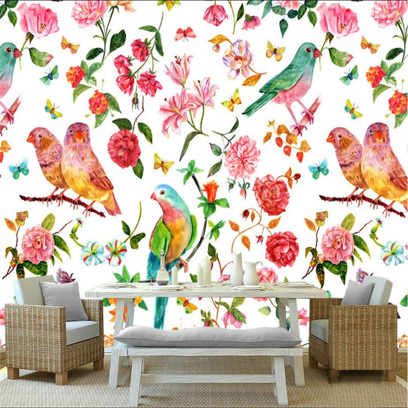 Wallpaper Birds Flowers Custom Watercolor European Style Wallpaper Photo Wall Mural for Living Room Thicken Mural Wallpaper junran america style vintage nostalgic wood grain photo pictures wallpaper in special words digit wallpaper for living room