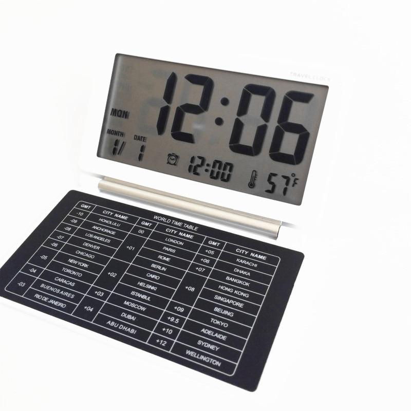 Горячая распродажа! дорожный будильник, календарь, функция повтора, Desktop GMT мировое время Таблица светодиодный цифровые часы aq141atravel-clock