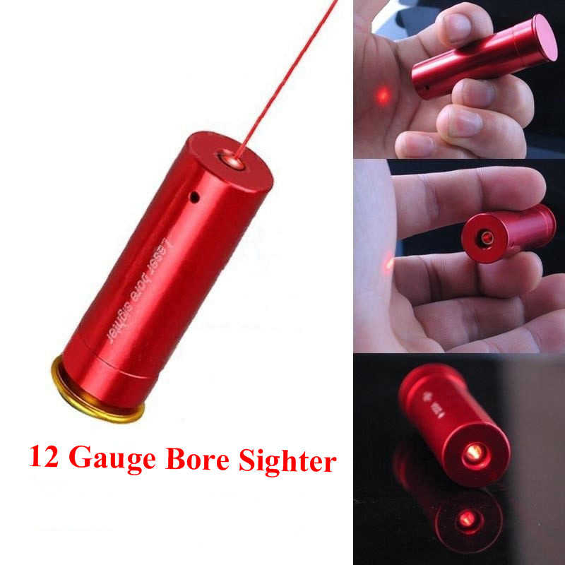 Red Laser Bore Sight 12 Gauge Barrel Cartridge Sight For 12GA Caliber Hunting Scopes Riflesighter Hunting Optics