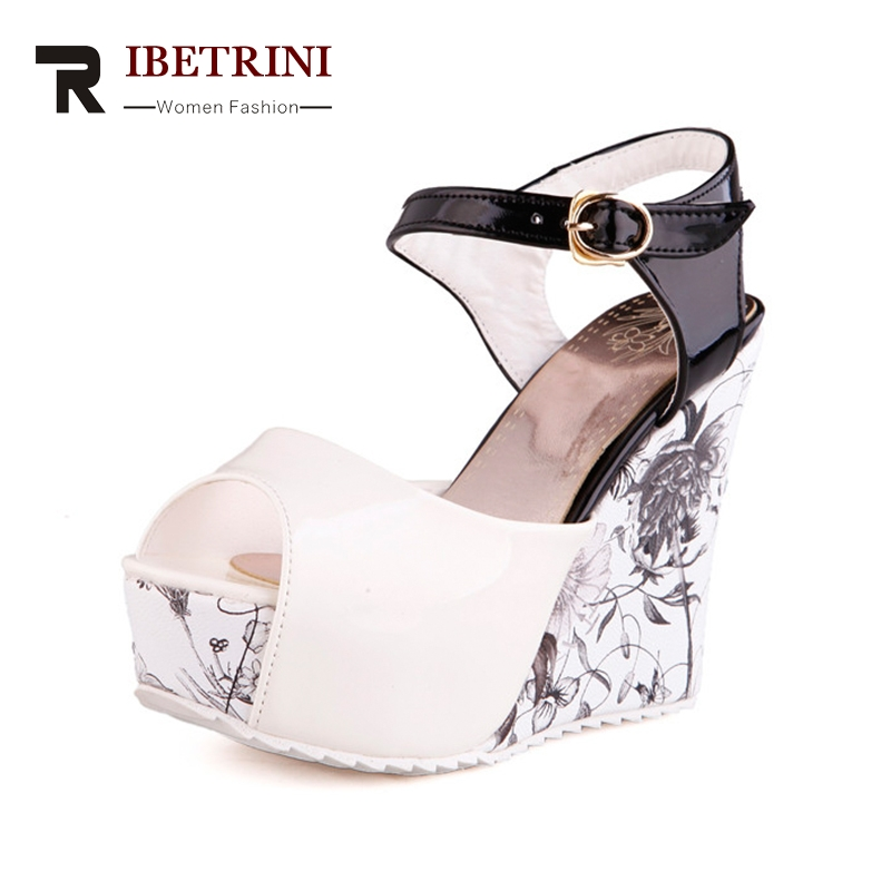 RIBETRINI Women's Flower Printed High Heel Wedge Summer Shoes Woman 2018 Ankle Strap Open Toe Platform Sandals Big Size 33-43 ribetrini women hot sale cow leather low heel wedges summer casual shoes woman ankle strap open toe platform sandals size 34 39