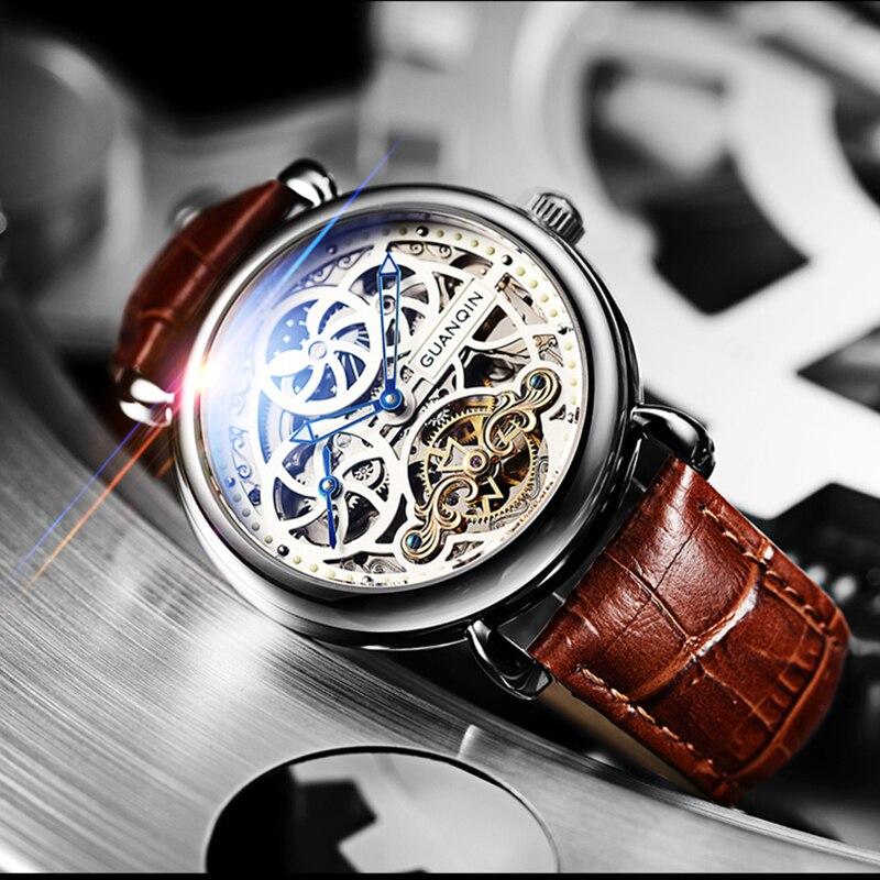 Часы со скелетом GUANQIN, модные мужские часы с большим циферблатом, 10 бар, автоматические часы для плавания, фаза Луны, светящиеся турбийон, механические часы
