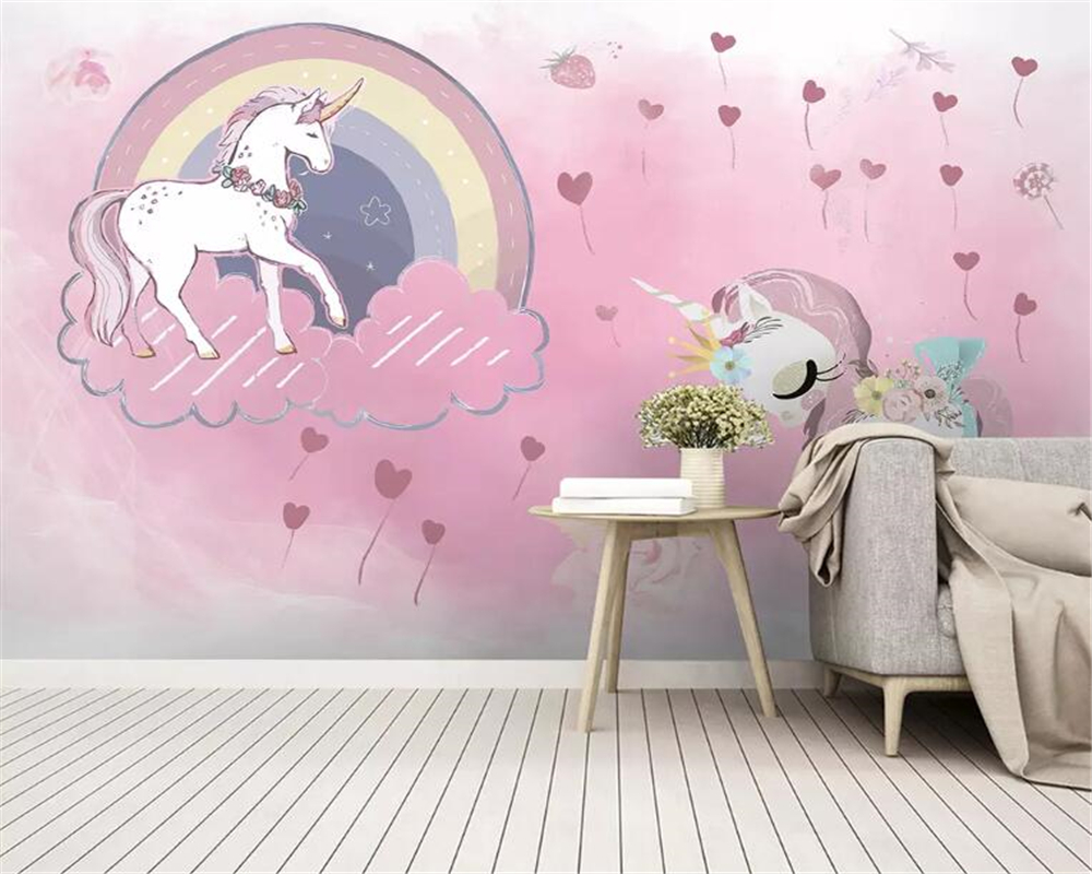 Beibehang Custom Photo Wallpaper Unicorn Animal Rainbow Pink Balloon Children's Room Background Wall Carta Da Parati Wallpaper
