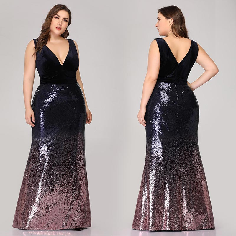 Image 4 - Plus Size Mother Of Bride Dress Ever Pretty Mermaid Sequined Long Formal Gowns For Wedding Guest Vestidos Para Madre De La Novia-in Mother of the Bride Dresses from Weddings & Events