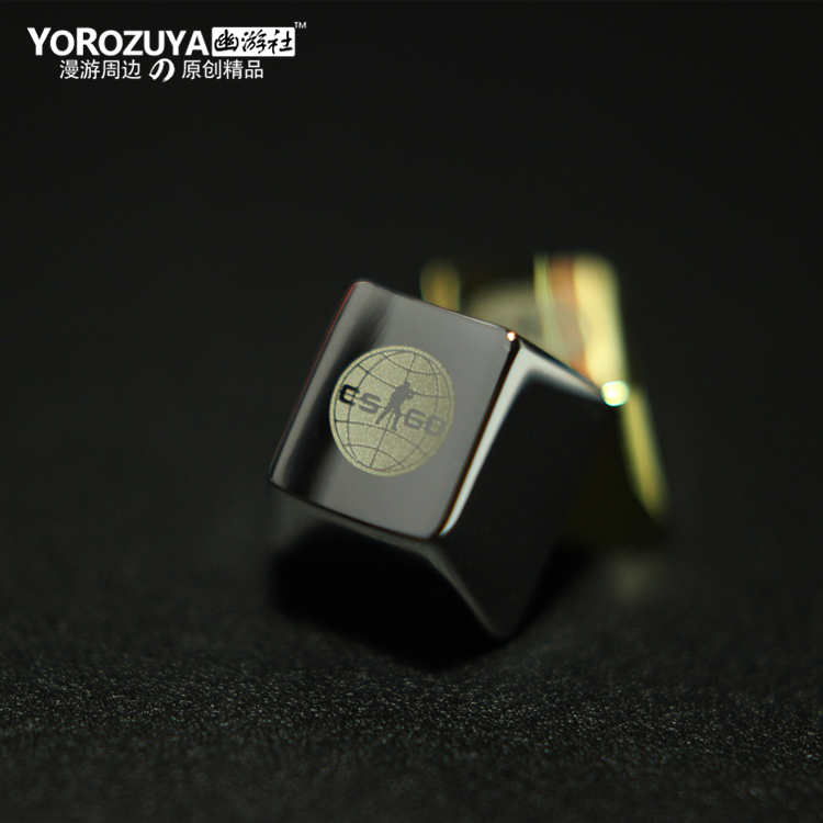 1pc Silver/Golden Metal Key Cap For CSGO Mechanical Keyboard Cap R4 Height Vacuum Electroplating Laser Radium Carving