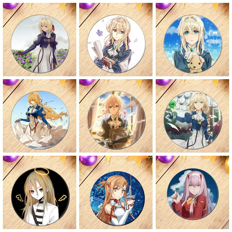 Sales DARLING in the FRANXX Cosplay Badge Violet Evergarden Naruto Brooch Angels of <font><b>Death</b></font> Pins Collection Badges for Backpacks image