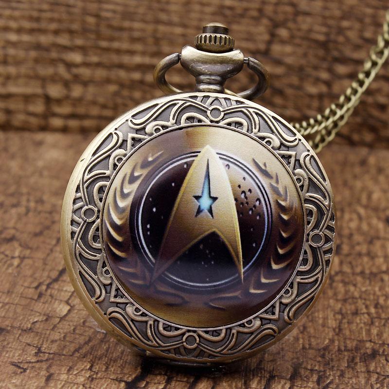 Neue Ankunft Star Trek Theme Steampunk Vintage Quarz Taschenuhr Einzigartige Mode Männer Uhren Halskette Kette Reloj de bolsillo