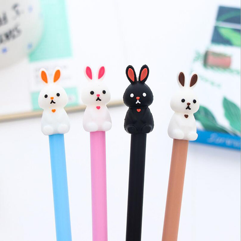 XF03 2X Adorable Silicone Rabbit Gel Pen Writing Signing Tool Long Slim Handle School Office Supply Student Stationery Kid Gift