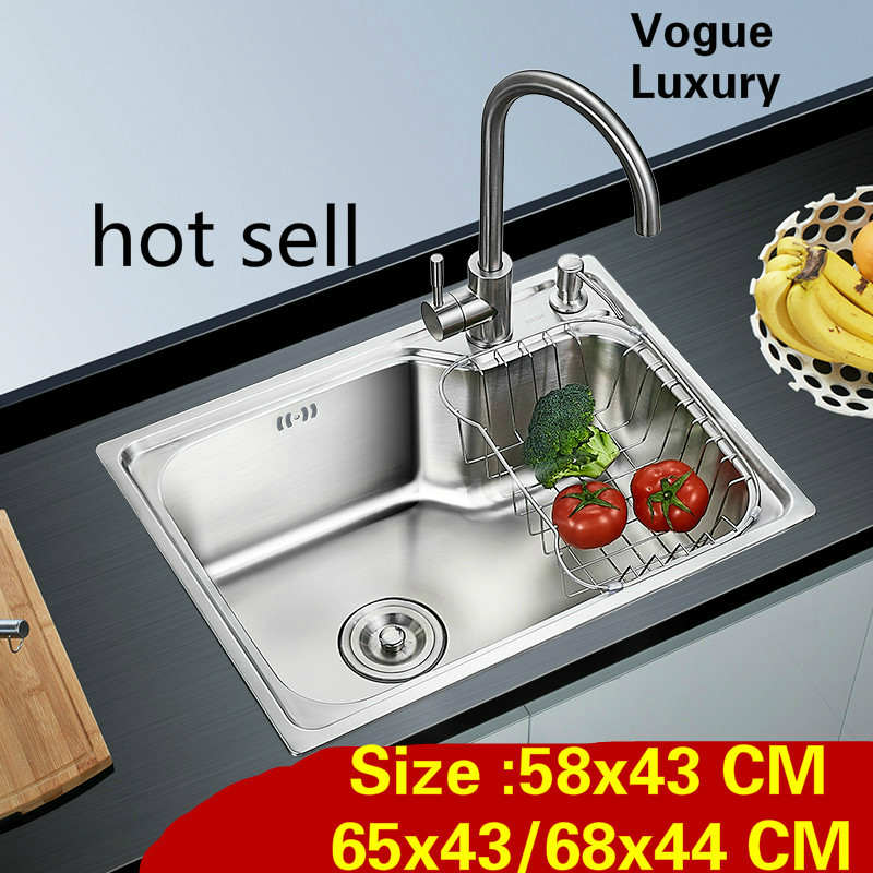 Free shipping Apartment high quality kitchen single trough sink wash vegetables 304 stainless steel 58x43/65x43/68x44 CM