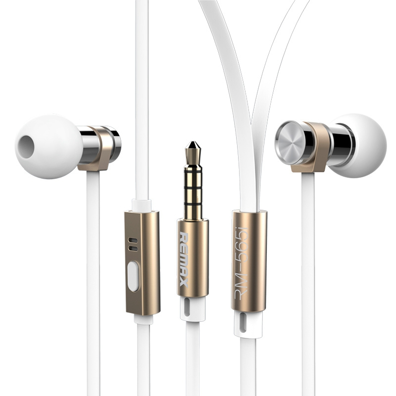 Remax 565i Metal Fashion Stainless Steel Earphone With HD Mic Remote In-Ear Stereo For Xiaomi Mobile Phone Computer MP3 player