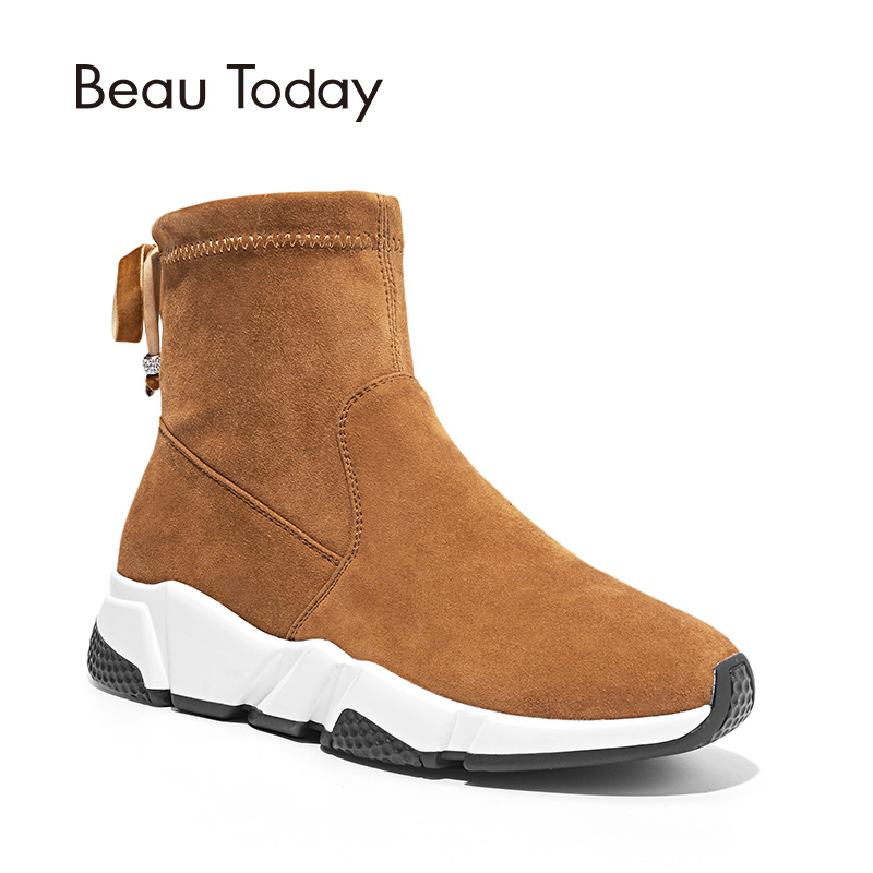 BeauToday Women Ankle Boots Brand Top Quality Suede Sheepskin Spring Autumn Lady Boots Handmade Shoes 05401 beautoday women chelase boots genuine calf leather top quality spring autumn ankle length ladies boots handmade 03239