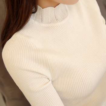 2019 Korean Fashion Women Sweaters and Pullovers Sueter Mujer Ruffled Sleeve Turtleneck Solid Slim Sexy Elastic Women Tops 2