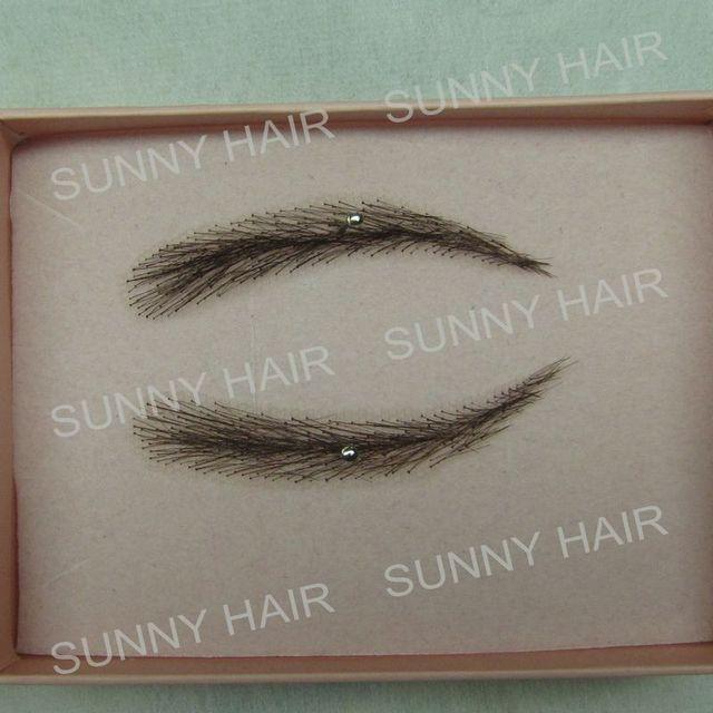 hand made human hair false eyebrow 012 black color natural shape