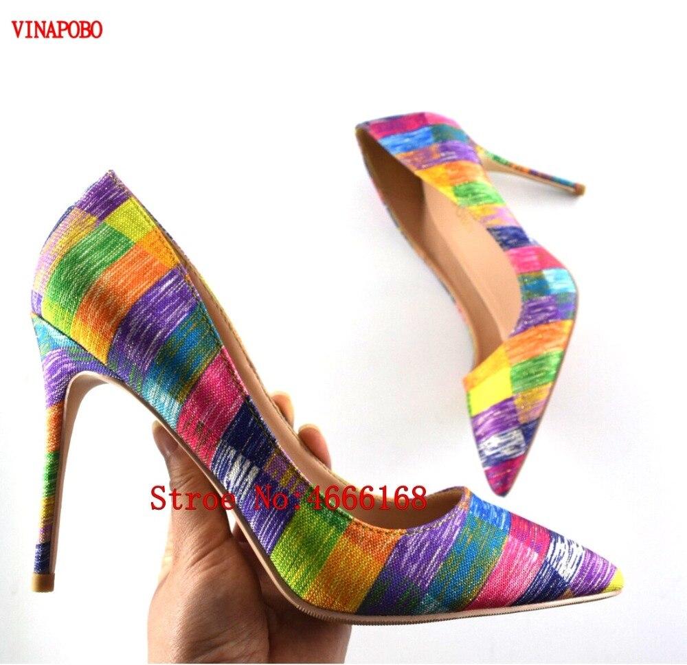 Heel en Chaussures Printemps Talon Automne Bout Heel 10cm Mix Sexy Femme Arc 12cm Pompes Heel Couleur coloré Vinapobo Stilettos Pointu 8cm Designer Haut Imprimé qpZPWg