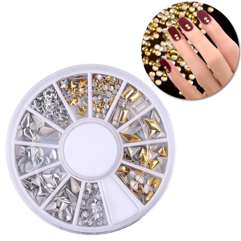 Gold and Silver Mixed Styles Acrylic 3d Nail Art Decorations Nail Glitter Rhinestone for UV Gel Nail Polish измельчители электрические russell hobbs измельчитель russell hobbs 22281 56