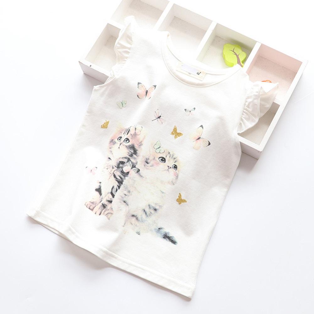 New Cotton Kids T-Shirt Children Summer Short Sleeve T-Shirts for Girls Clothes Cat Rabit Butterfly Baby T Shirt Toddler Tops 8