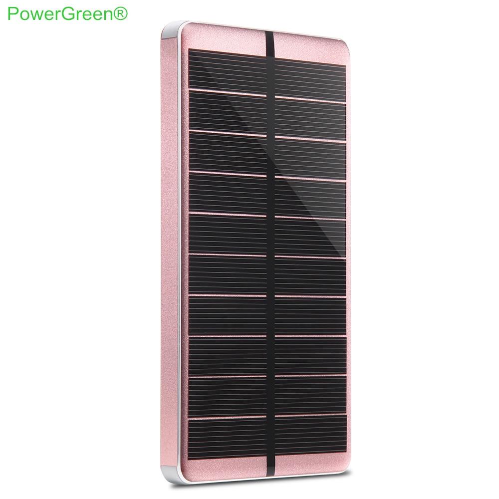 Chargeur solaire PowerGreen charge rapide double sorties lampe de poche conception universelle 10000 mAh batterie externe pour téléphones mobiles