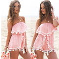 2016 Summer New Arrival Hot Sale Fashion Chiffon Tassel Strapless Sexy Pink Beach Women Playsuit Jumpsuit Bodysuit
