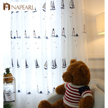 embroidered tulle curtains white sheer panel sail boat design kid bedroom children curtains cartoon navy blue modern window