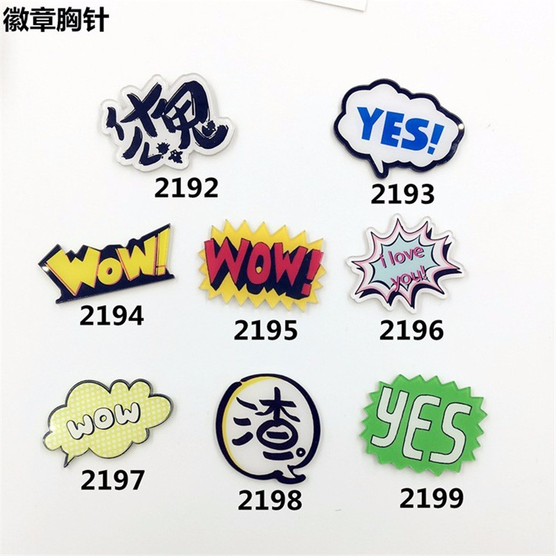 Jewelry Acrylic HARAJUKU Badge cartoon creative Letter costumes Badge Chinese Collar Tips XZ97